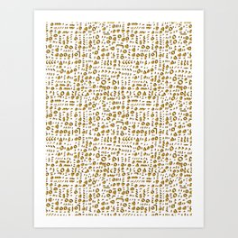 Trendy Yellow Doodle and Abstract Drawn Cryptic Art Print