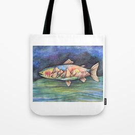 Rainbow Trout and Mountains Tote Bag