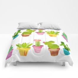 Cactus Plants In Pretty Pots Comforters