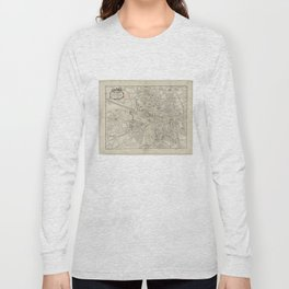 Vintage Map of Toulouse France (1844) Long Sleeve T-shirt