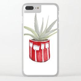 Aloe Pot Plant Watercolour Illustration Clear iPhone Case