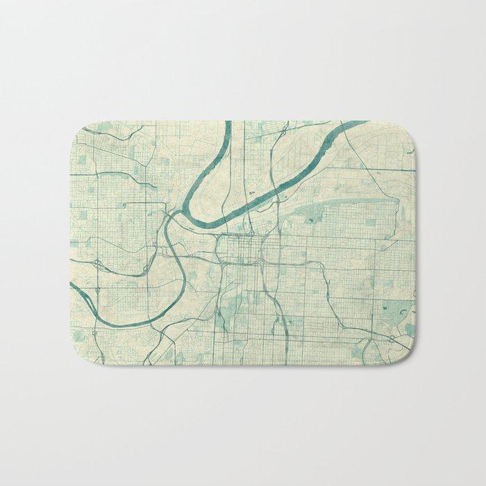 Kansas City Map Blue Vintage Bath Mat