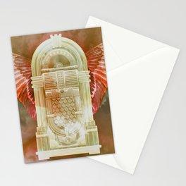 Rose Gold Retro Flying Jukebox Stationery Cards