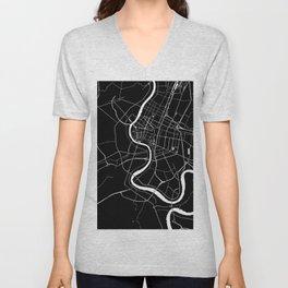 Bangkok Thailand Minimal Street Map - Midnight Black and White Unisex V-Neck