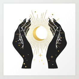 Gold La Lune In Hands Art Print