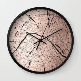 Paris France Minimal Street Map - Rose Gold Glitter on Black Wall Clock