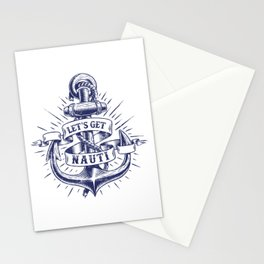 Motor Boating Captain Let's Get Nauti Anchor Stationery Cards