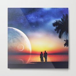 with lovers in the full moon Metal Print