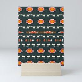 Ethnic deer pattern with Christmas trees Mini Art Print