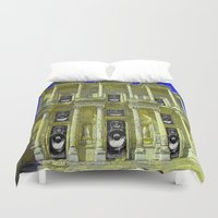 old school Duvet Covers featuring Old School by Nicholas Bremner - Autotelic Art