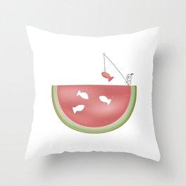 Watermelon fishing Throw Pillow