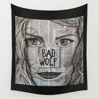 bad wolf Wall Tapestries featuring Bad Wolf  by Chrissie Brown Art