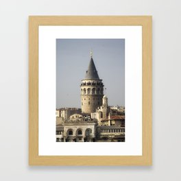 Galata Tower, A historical place in Istanbul Turkey Framed Art Print