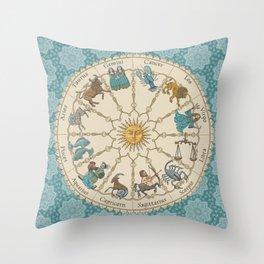 Vintage Astrology Zodiac Wheel on Teal Throw Pillow
