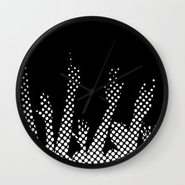 Halftone Raised Hands Wall Clock