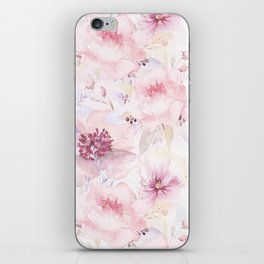 Pastel Summer Flower Watercolor Pattern iPhone Skin
