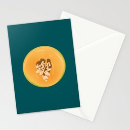 Half of a Melon against the Petroleum Background - Abstract Fruit Stationery Cards