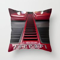ferrari Throw Pillows featuring Ferrari behind. by Cozmic Photos