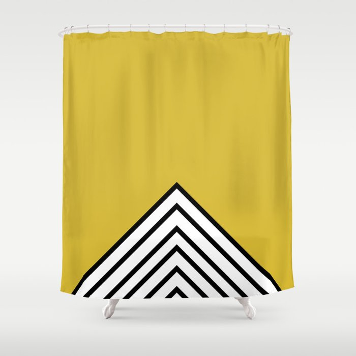 MUSTARD BLACK AND WHITE STRIPES Shower Curtain