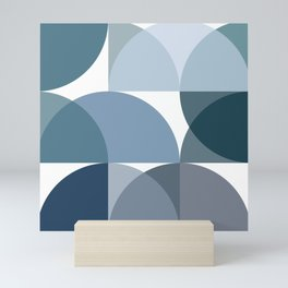 Blue semicircles Mini Art Print