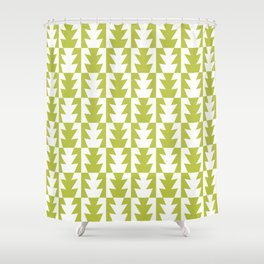 Art Deco Jagged Edge Pattern Chartreuse Shower Curtain