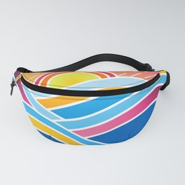 Dynamic Abstraction of Waves and Mountains Over a Rainy Summer Sunrise Fanny Pack