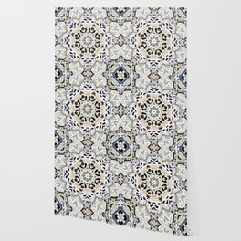 Floral Multicolored Mandala with Light Linen Texture Wallpaper