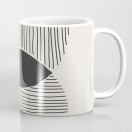 Abstract Circle and Lines in Black on Cream Coffee Mug