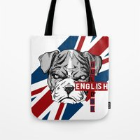 english bulldog Tote Bags featuring English Bulldog by Det Tidkun