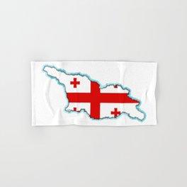 Georgia (Country) Map with Georgian Flag Hand & Bath Towel