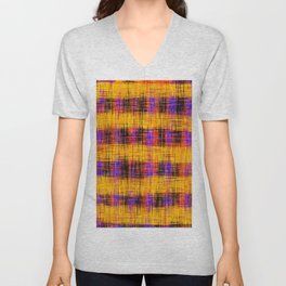 plaid pattern abstract texture in orange yellow pink purple Unisex V-Neck