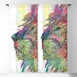 Awesome tribal watercolor lion design Blackout Curtain