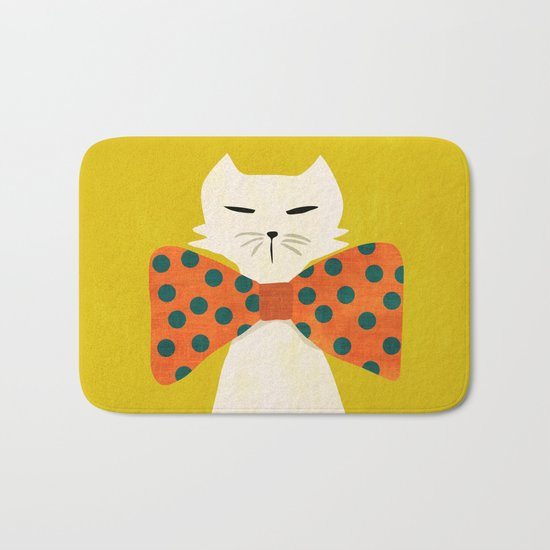 Cat with incredebly oversized humongous bowtie Bath Mat