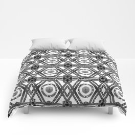 Geometric Black and White Tribal-Inspired Repeat Pattern Comforters