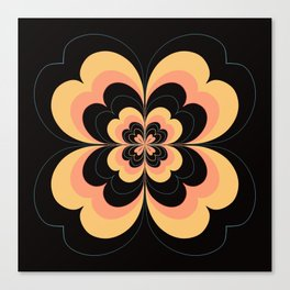 Vintage Flower Design in Sherbet Pink and Buttery Yellow On Black Canvas Print