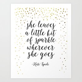 quote,nursery girls,she leave a little sparkle wherever she goes,quote prints,nursery art,children Art Print