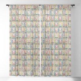 Sumo Wrestlers Japanese Vintage Print Sheer Curtain