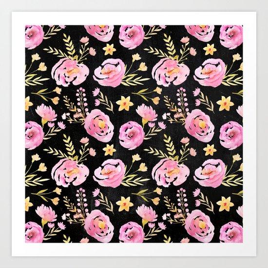 Delicate Poppy Pattern On Chalkboard Art Print