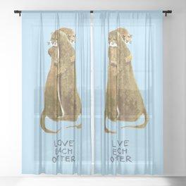 Love each otter Sheer Curtain