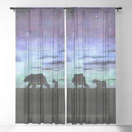 Aurora borealis and polar bears (black version) Sheer Curtain