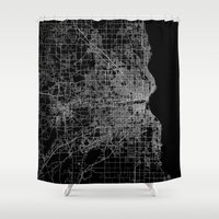 milwaukee Shower Curtains featuring milwaukee map by Line Line Lines