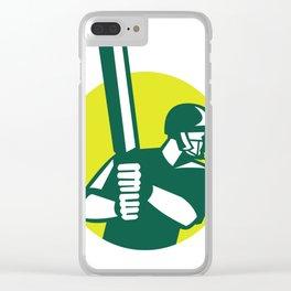 Cricket Batsman Batting Icon Retro Clear iPhone Case