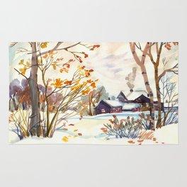 Late Autumn. First Snow. Rural Landsape. Birches Rug