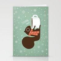 Stationery Cards featuring Squirrel Coffee Lover Holiday  by Jenn Inashvili