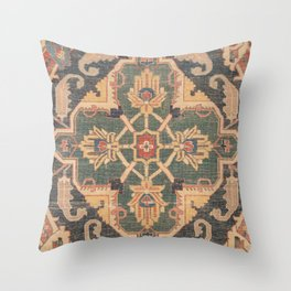 Geometric Leaves VI // 18th Century Distressed Red Blue Green Colorful Ornate Accent Rug Pattern Throw Pillow