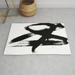 Brushstroke 2 - simple black and white Rug