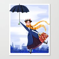 mary poppins Canvas Prints featuring Mary Poppins by giovanamedeiros