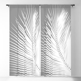 Large Palm Leaf, Grey / Gray and White Blackout Curtain