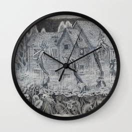 Lotus Teeth (collaboration with Kevin Newell of Evergreen Illustration) Wall Clock
