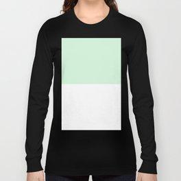 White and Pastel Green Horizontal Halves Long Sleeve T-shirt
